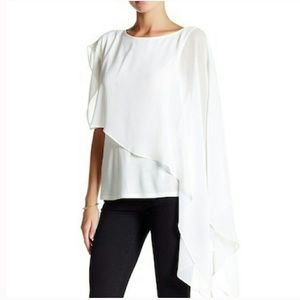 Haute Hippie White Crepe de Chine Asymmetrical Top